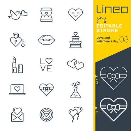 Lineo Editable Stroke - Love and Valentine? ? ? s day line icon Icons - Adjust stroke weight - Change to any color 일러스트