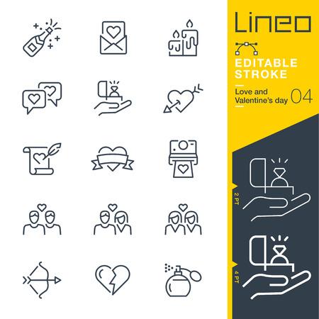 Lineo 編集可能なストローク - 愛とバレンタイン ‐s 日線アイコンの線幅の調整 - アイコンが任意の色に変更します。  イラスト・ベクター素材