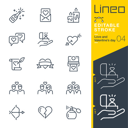 Lineo Editable Stroke - Love and Valentine? ? ? s day line icon Icons - Adjust stroke weight - Change to any color Illustration