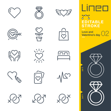 Lineo Editable Stroke - Love and Valentine? ? ? s day line icon Icons - Adjust stroke weight - Change to any color Ilustração