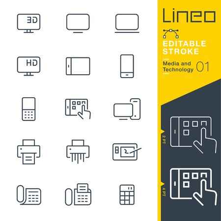Lineo Editable Stroke - Media and Technology line icon 일러스트