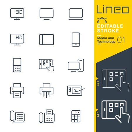 Lineo 편집 가능한 스트로크 - 미디어 및 기술 라인 아이콘 일러스트