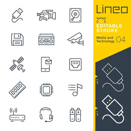 Lineo Editable Stroke - 미디어 및 기술 라인 아이콘 벡터 아이콘 - 획 두께 조정 - 모든 색상 변경 일러스트