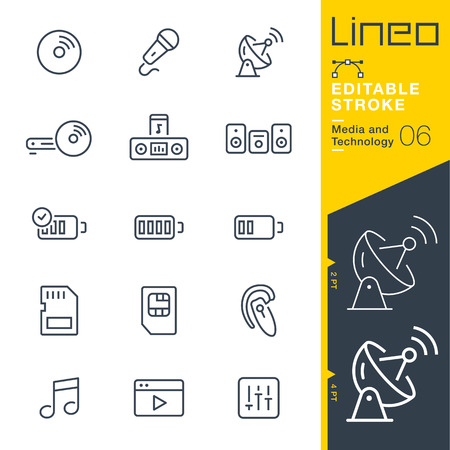 blu ray: Lineo Editable Stroke - Media and Technology line icon Vector Icons - Adjust stroke weight - Change to any color Illustration