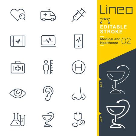 Lineo Editable Stroke - 의료 및 건강 관리 라인 아이콘 벡터 아이콘 - 획 두께 조정 - 모든 색상 변경 일러스트