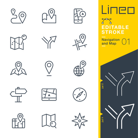 Lineo Editable Stroke - Navigation and Map line icon Vector Icons - Adjust stroke weight - Change to any color