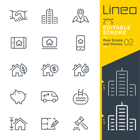 Lineo Editable Stroke - Real Estate and Homes line icons. Vector Icons - Adjust stroke weight - Expand to any size Ilustração
