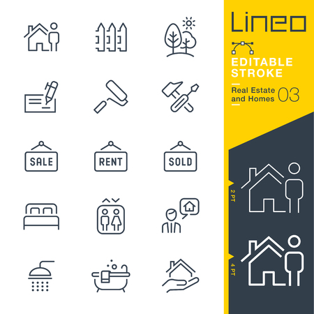 Lineo Editable Stroke - Real Estate and Homes line icons. Vector Icons - Adjust stroke weight - Expand to any size Vettoriali