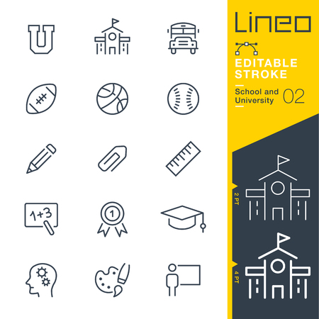 Line Editable Stroke - School and University line icon Vector Icons - Adjust stroke weight - Change to any color.