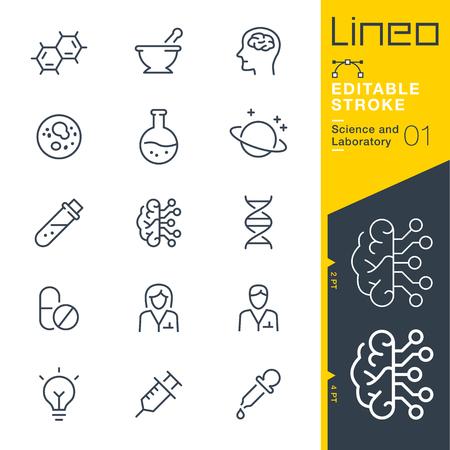 Lineo Editable Stroke - Icônes de science et de laboratoire Icônes vectorielles - Ajuster le poids de la course - Changer à n'importe quelle couleur