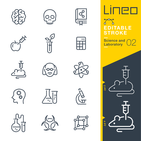 Lineo 편집 가능한 획 - 과학 및 실험실 아이콘 벡터 아이콘 - 획 두께 조정 - 모든 색상 변경