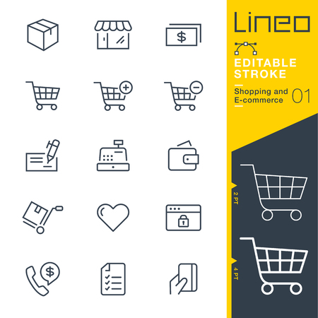 Lineo editable stroke - shopping and e-commerce line icon vector icons - adjust stroke weight - change to any color Çizim