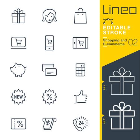 Lineo 편집 가능한 스트로크 - 쇼핑 및 전자 상거래 라인 아이콘 벡터 아이콘 - 획 두께 조정 - 모든 색상 변경