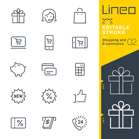 web: Lineo Editable Stroke - Shopping and E-commerce line icon Vector Icons - Adjust stroke weight - Change to any color