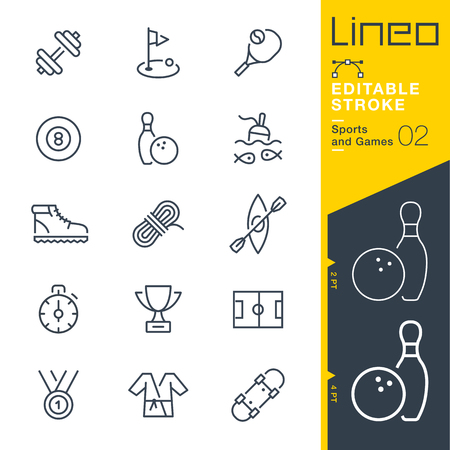 black: Lineo Editable Stroke - Sports and Games line icons Vector Icons - Adjust stroke weight - Change to any color