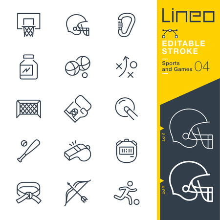sports equipment: Lineo Editable Stroke - Sports and Games line icons Vector Icons - Adjust stroke weight - Change to any color