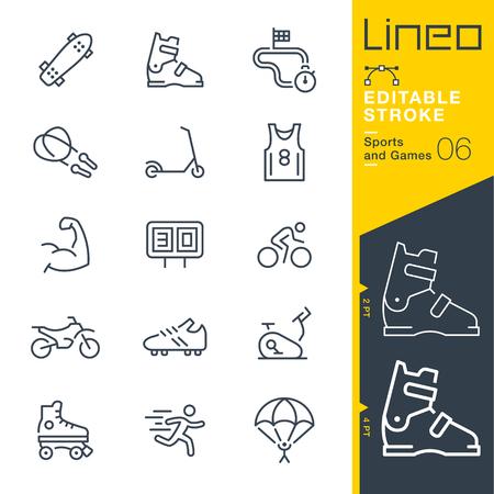 Lineo 편집 가능한 스트로크 - 스포츠 및 게임 라인 아이콘 벡터 아이콘 - 획 두께 조정 - 모든 색상 변경 일러스트