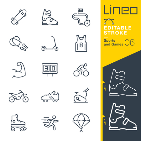 web: Lineo Editable Stroke - Sports and Games line icons Vector Icons - Adjust stroke weight - Change to any color