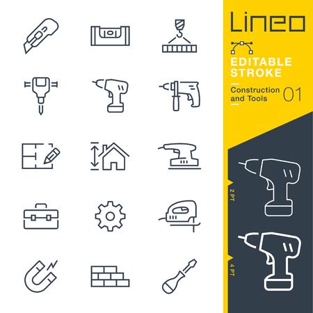 Lineo 편집 가능한 획 - 구성 및 도구 선 아이콘 벡터 아이콘 - 획 두께 조정 - 모든 색상으로 변경 일러스트