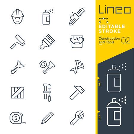 Lineo 편집 가능한 획 - 건설 및 도구 선 아이콘 벡터 아이콘 - 획 두께 조정 - 모든 색상 변경 일러스트