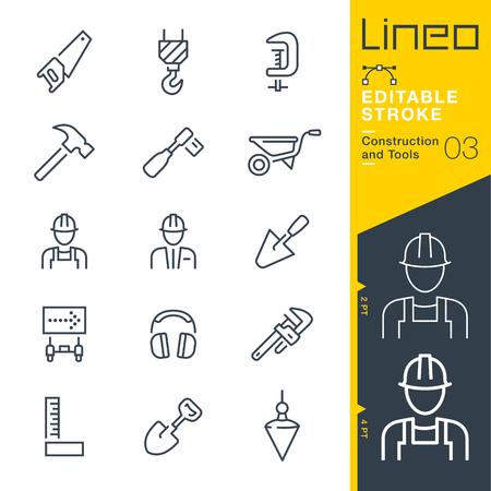 Lineo Editable Stroke - Bouw en gereedschap lijn icoon Vector Icons - Pas slaggewicht aan - Verander naar elke kleur