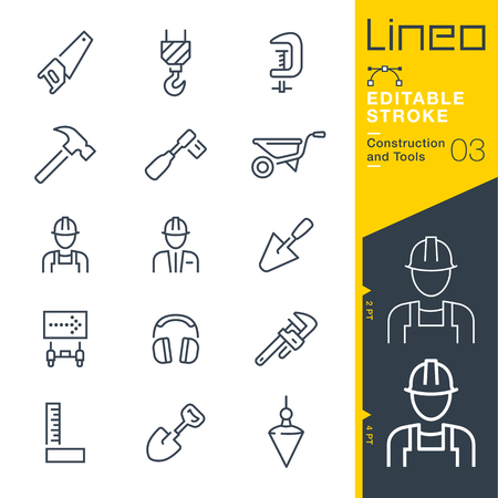 Lineo Editable Stroke - Construction and Tools line icon Vector Icons - Adjust stroke weight - Change to any color