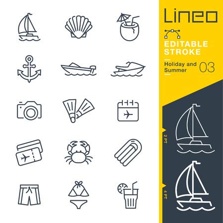 Lineo 편집 가능한 스트로크 - 휴일 및 여름 라인 아이콘 벡터 아이콘 - 획 두께 조정 - 모든 색상 변경