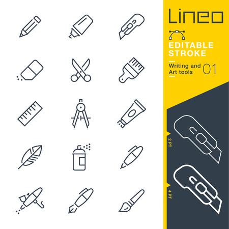 Lineo 편집 가능한 스트로크 - 쓰기 및 아트 도구 아이콘 벡터 아이콘 - 획 두께 조절.