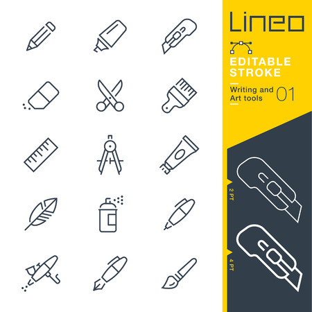 Lineo Editable Stroke - Writing and Art tools icon Vector Icons - Adjust stroke weight. Illustration