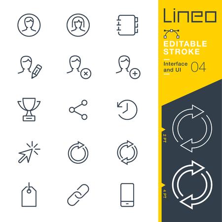 Lineo Editable trazo - interfaz y el icono de la línea de interfaz de usuario Iconos vectoriales - Ajustar el peso del trazo - Cambiar a cualquier color