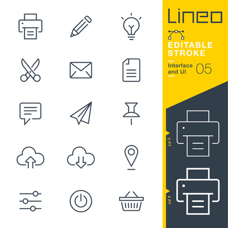Lineo Editable Stroke - ikona linii i interfejsu użytkownika Ikony wektorowe - Dostosuj wagę obrysu - Zmień na dowolny kolor Ilustracje wektorowe
