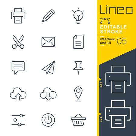 Lineo Editable Stroke - Interfaccia e icona della linea dell'interfaccia utente Icone vettoriali - Regola il peso del tratto - Passa a qualsiasi colore Vettoriali