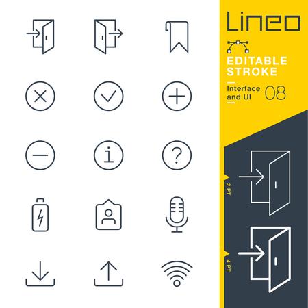 Lineo bewerkbare lijn - Interface en UI-lijnpictogram Vectorpictogrammen - Pas het slaggewicht aan - Verander in een willekeurige kleur Stock Illustratie