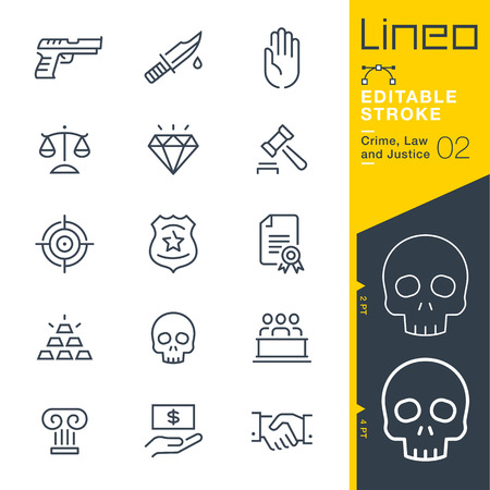 Lineo Editable AVC - Crime, droit et justice icône de la ligne Vector Icons - Ajuster la masse de la course - Changer pour n'importe quelle couleur