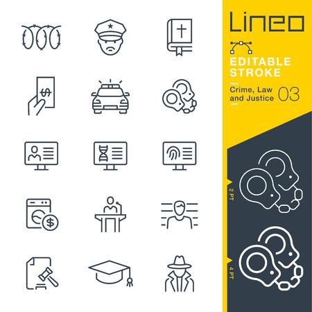 Lineo Editable Stroke - 범죄, 법률 및 정의 라인 아이콘 벡터 아이콘 - 획 두께 조정 - 모든 색상 변경