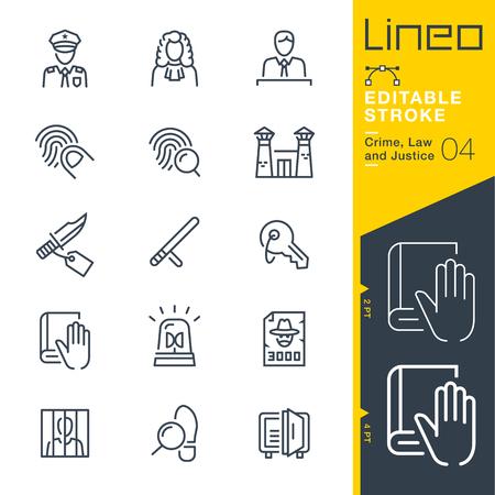 Lineo Editierbarer Schlaganfall - Kriminalität, Recht und Gerechtigkeit Linie Symbol Vektor-Icons - Strichgewicht anpassen - Ändern Sie auf eine beliebige Farbe