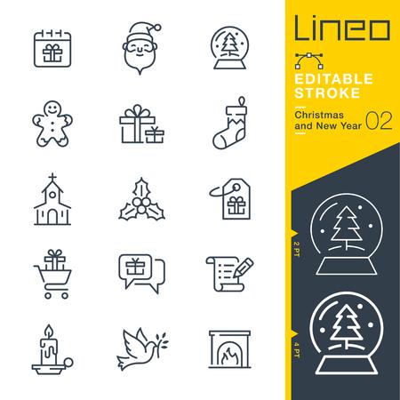 Lineo 편집 가능한 획 - 크리스마스 및 새해 선 아이콘 벡터 아이콘 - 획 두께 조정 - 모든 색상으로 변경 일러스트