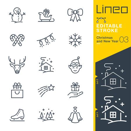 Lineo bewerkbare lijn - Kerstmis en Nieuwjaar lijn pictogram Vector pictogrammen - aanpassen slaggewicht - wijzigen in een kleur