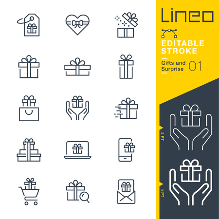 Lineo Editable Stroke. Gifts and surprise line icon vector icons. Adjust stroke weight. Change to any color