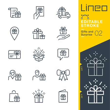 Lineo editable stroke. Gifts and surprise line icon vector icons. Adjust stroke weight. Change to any color Stock Illustratie