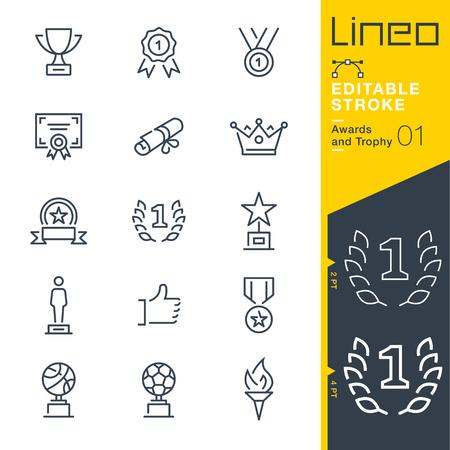 Lineo editable stroke. Icon set.