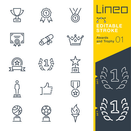 Lineo editable stroke. Icon set.