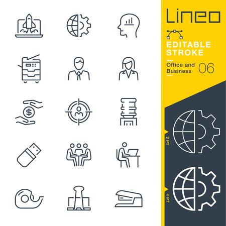 Curso editável de Lineo - ícones da linha do escritório e do negócio