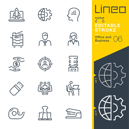 Lineo Editable Stroke - Office and Business line icons 版權商用圖片 - 92435956