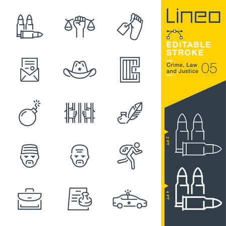 Lineo Editable Stroke-범죄, 정의 및 정의 라인 아이콘