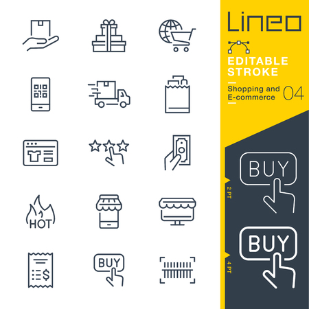 Lineo Editable Stroke - Shopping and E-commerce line icons. Stock Illustratie