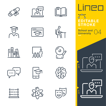 Lineo Editable Stroke - School line icons Vectores