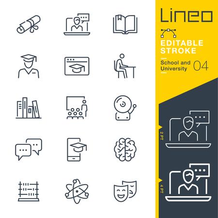 Lineo Editable Stroke - School line icons 일러스트