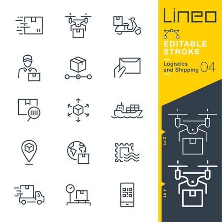 Lineo 편집 가능한 스트로크 - 배송 및 물류 라인 아이콘. 일러스트