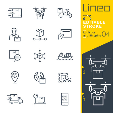 Lineo Editable Stroke - Shipping and Logistics line icons.